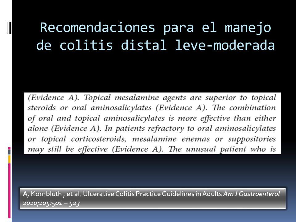Recomendaciones para el manejo de colitis distal leve-moderada A, Kornbluth, et al. Ulcerative Colitis Practice Guidelines in Adults Am J Gastroentero