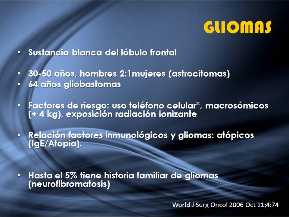 GLIOMAS Sustancia blanca del lóbulo frontal Sustancia blanca del lóbulo frontal 30-50 años, hombres 2:1mujeres (astrocitomas) 30-50 años, hombres 2:1m