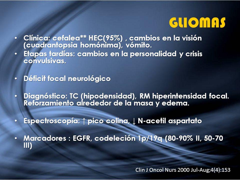 GLIOMAS Clínica: cefalea** HEC(95%), cambios en la visión (cuadrantopsia homónima), vómito. Clínica: cefalea** HEC(95%), cambios en la visión (cuadran