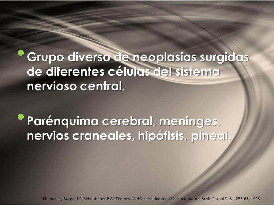 DEFINICIÓN Grupo diverso de neoplasias surgidas de diferentes células del sistema nervioso central. Grupo diverso de neoplasias surgidas de diferentes