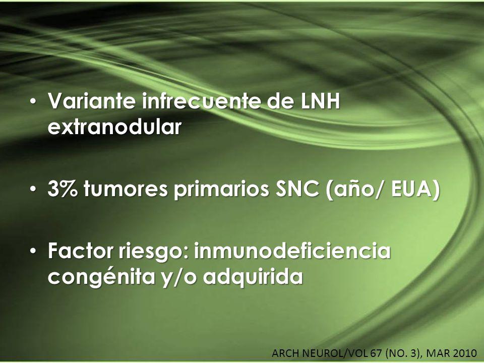 Variante infrecuente de LNH extranodular Variante infrecuente de LNH extranodular 3% tumores primarios SNC (año/ EUA) 3% tumores primarios SNC (año/ E