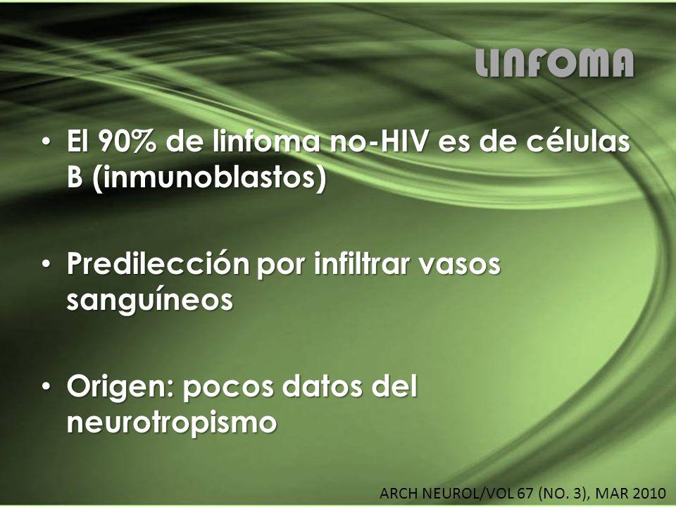 LINFOMA El 90% de linfoma no-HIV es de células B (inmunoblastos) El 90% de linfoma no-HIV es de células B (inmunoblastos) Predilección por infiltrar v