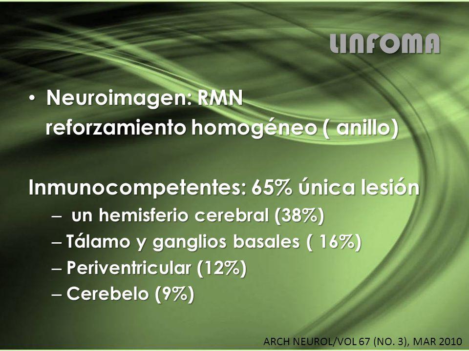 LINFOMA Neuroimagen: RMN Neuroimagen: RMN reforzamiento homogéneo ( anillo) Inmunocompetentes: 65% única lesión – un hemisferio cerebral (38%) – Tálam