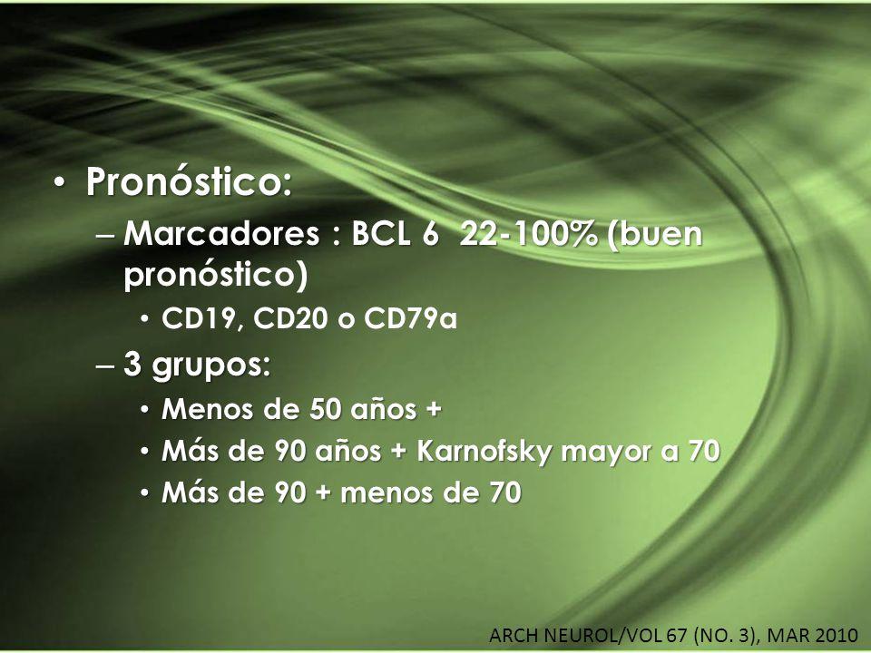 Pronóstico: Pronóstico: – Marcadores : BCL 6 22-100% (buen – Marcadores : BCL 6 22-100% (buen pronóstico) CD19, CD20 o CD79a – 3 grupos: Menos de 50 a