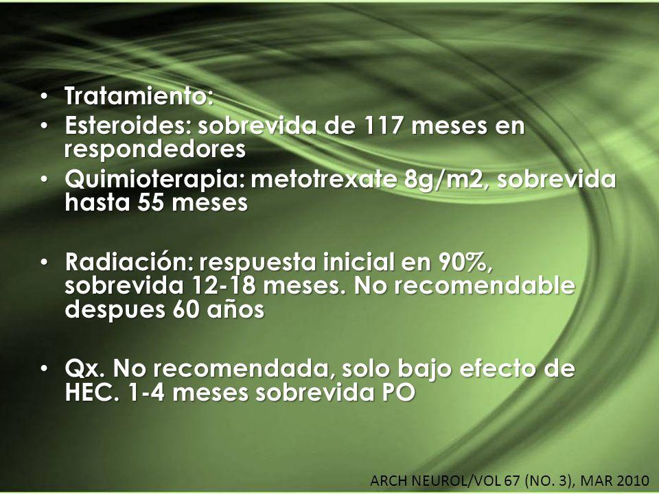 Tratamiento: Tratamiento: Esteroides: sobrevida de 117 meses en respondedores Esteroides: sobrevida de 117 meses en respondedores Quimioterapia: metot