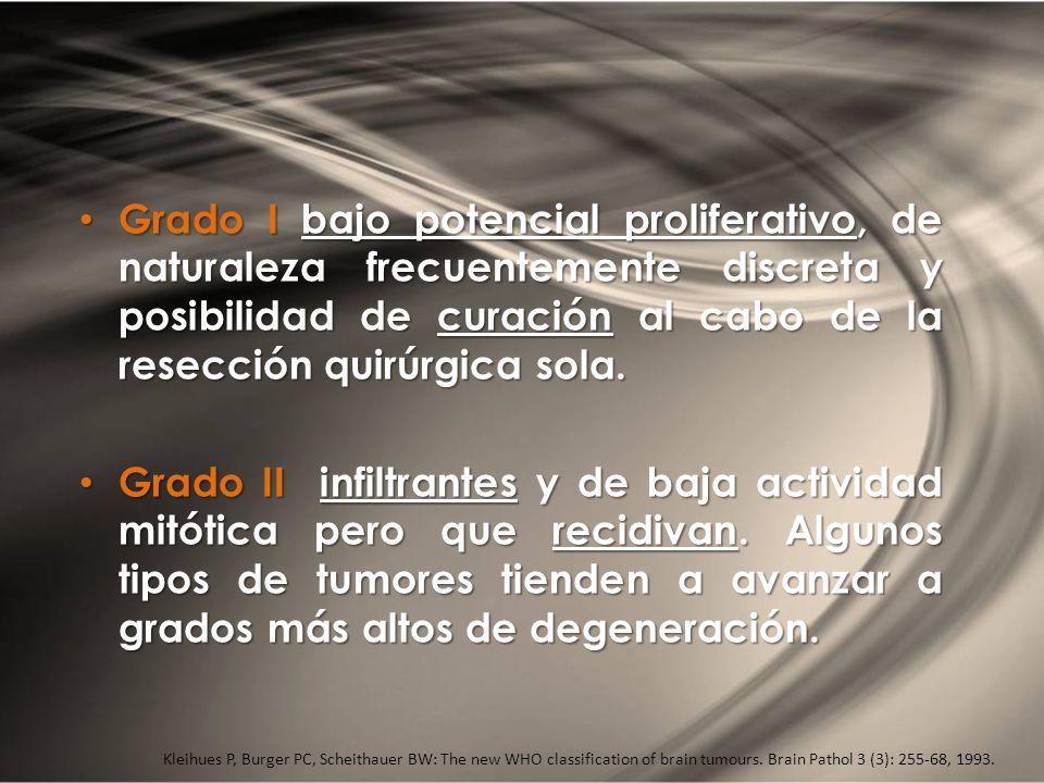 Grado I bajo potencial proliferativo, de naturaleza frecuentemente discreta y posibilidad de curación al cabo de la resección quirúrgica sola. Grado I