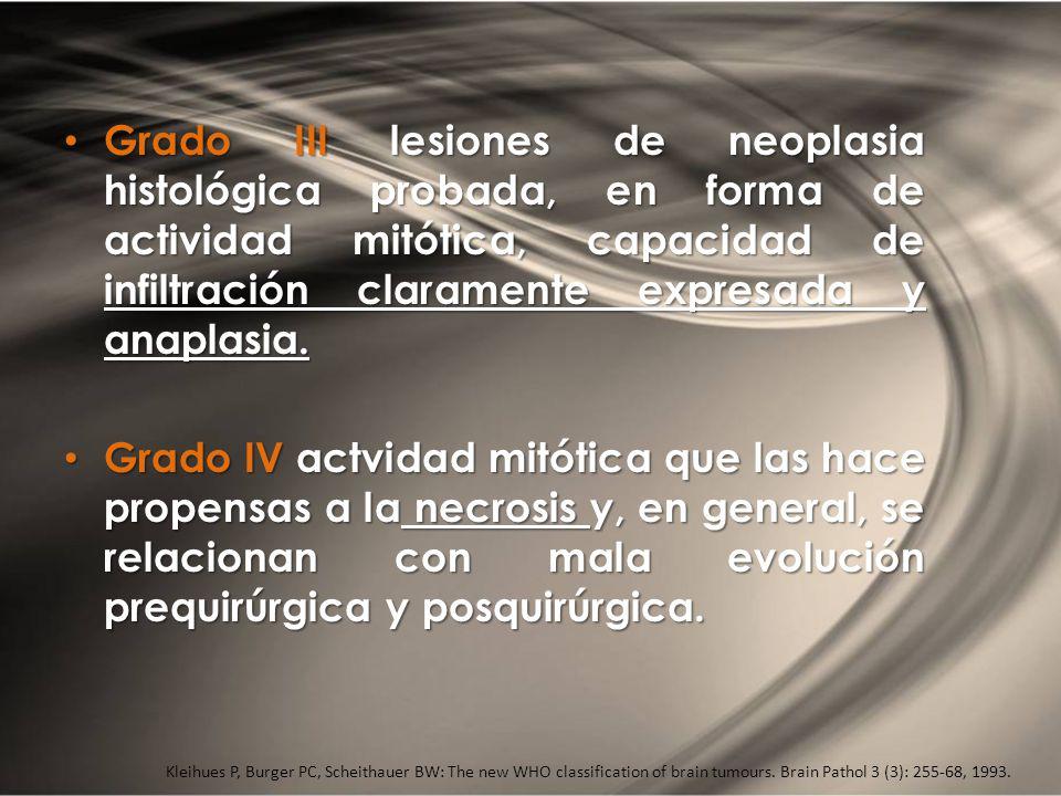 Grado III lesiones de neoplasia histológica probada, en forma de actividad mitótica, capacidad de infiltración claramente expresada y anaplasia. Grado