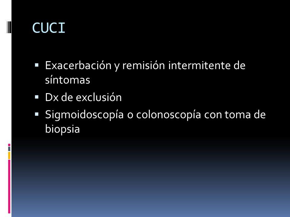 CUCI Exacerbación y remisión intermitente de síntomas Dx de exclusión Sigmoidoscopía o colonoscopía con toma de biopsia
