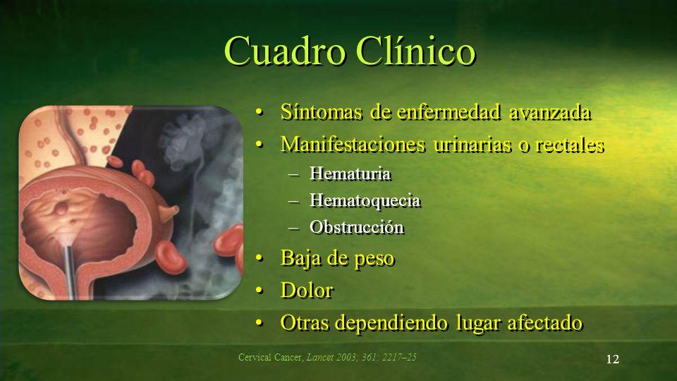 Cuadro Clínico Síntomas de enfermedad avanzada Manifestaciones urinarias o rectales –Hematuria –Hematoquecia –Obstrucción Baja de peso Dolor Otras dep