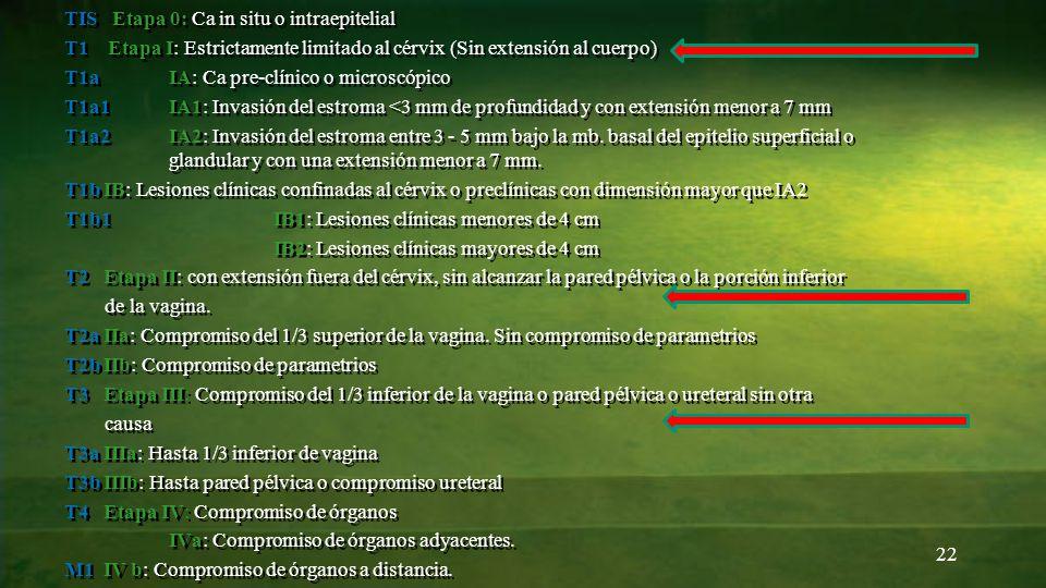 22 TIS Etapa 0: Ca in situ o intraepitelial T1 Etapa I: Estrictamente limitado al cérvix (Sin extensión al cuerpo) T1a IA: Ca pre-clínico o microscópi
