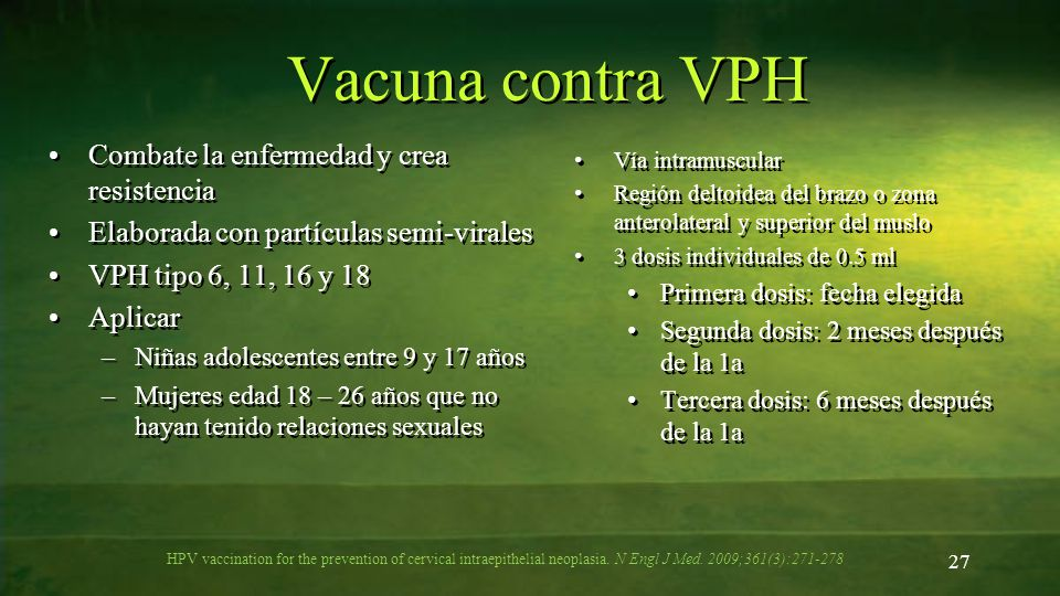 Vacuna contra VPH HPV vaccination for the prevention of cervical intraepithelial neoplasia. N Engl J Med. 2009;361(3):271-278 27 Combate la enfermedad