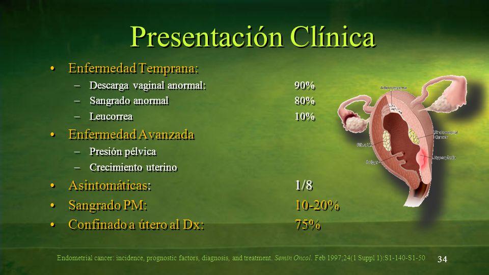 Presentación Clínica Enfermedad Temprana: –Descarga vaginal anormal:90% –Sangrado anormal80% –Leucorrea10% Enfermedad Avanzada –Presión pélvica –Creci