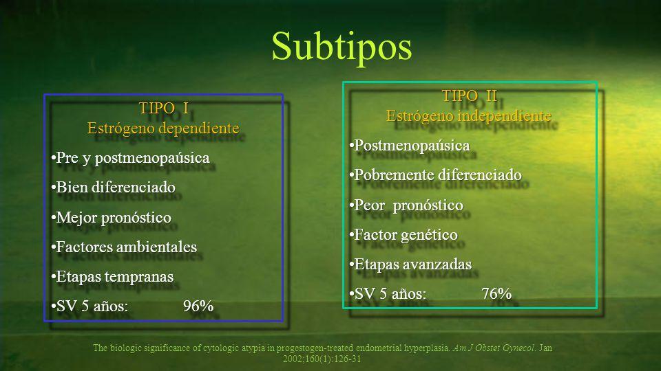 TIPO I Estrógeno dependiente Pre y postmenopaúsicaPre y postmenopaúsica Bien diferenciadoBien diferenciado Mejor pronósticoMejor pronóstico Factores a