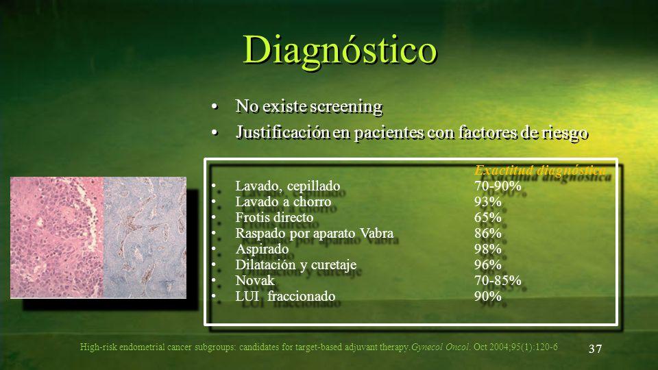 Diagnóstico No existe screening Justificación en pacientes con factores de riesgo No existe screening Justificación en pacientes con factores de riesg