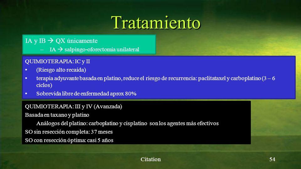 Tratamiento Citation54 IA y IB QX únicamente –IA salpingo-oforectomía unilateral QUIMIOTERAPIA: IC y II (Riesgo alto recaída) terapia adyuvante basada