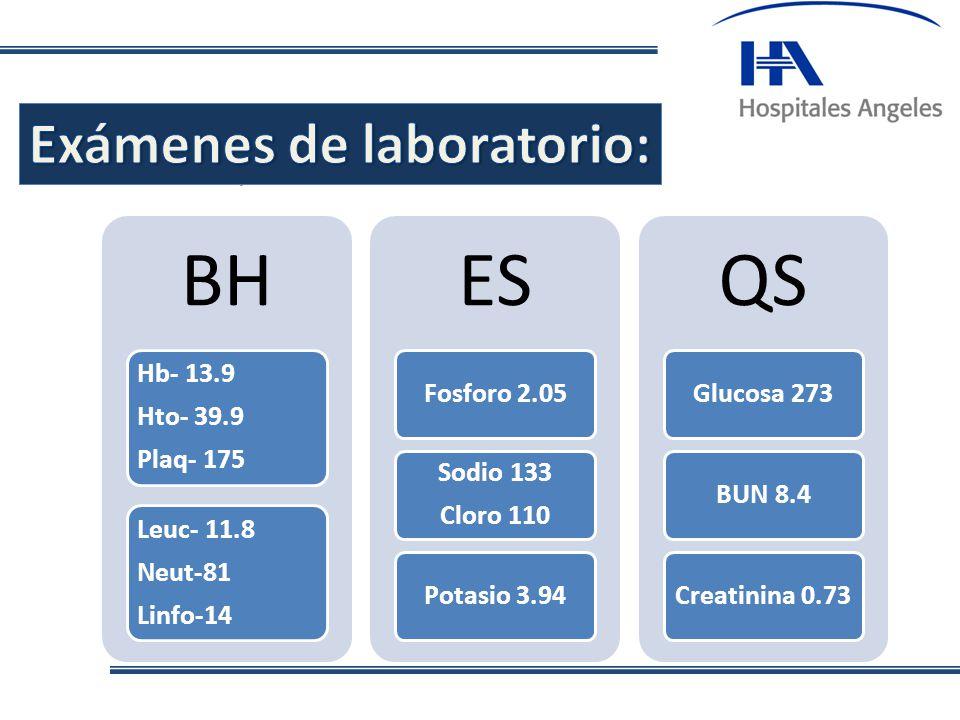 . BH Hb- 13.9 Hto- 39.9 Plaq- 175 Leuc- 11.8 Neut-81 Linfo-14 ES Fosforo 2.05 Sodio 133 Cloro 110 Potasio 3.94 QS Glucosa 273BUN 8.4Creatinina 0.73