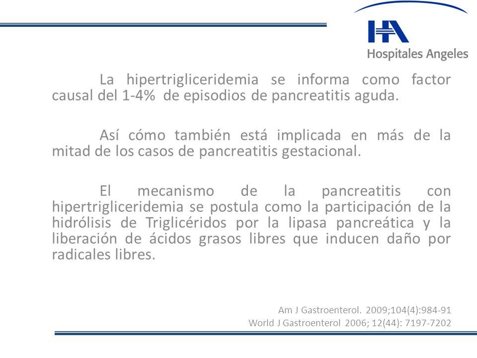 La hipertrigliceridemia se informa como factor causal del 1-4% de episodios de pancreatitis aguda. Así cómo también está implicada en más de la mitad