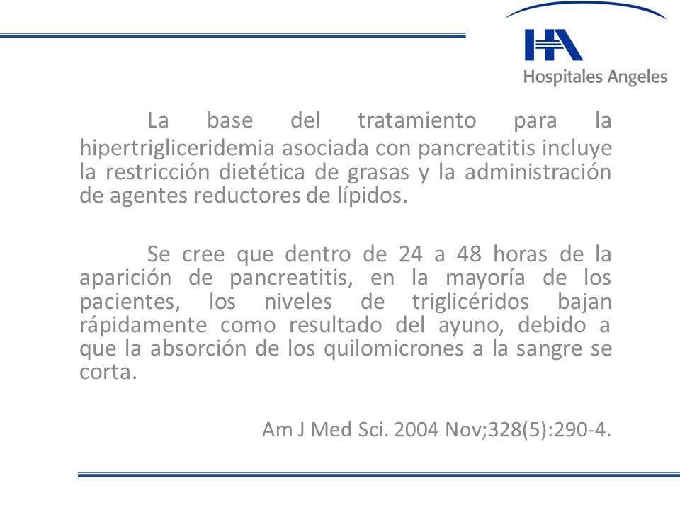 La base del tratamiento para la hipertrigliceridemia asociada con pancreatitis incluye la restricción dietética de grasas y la administración de agent