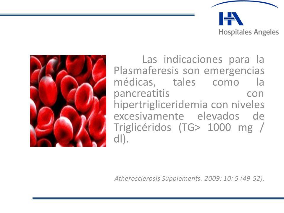 Las indicaciones para la Plasmaferesis son emergencias médicas, tales como la pancreatitis con hipertrigliceridemia con niveles excesivamente elevados