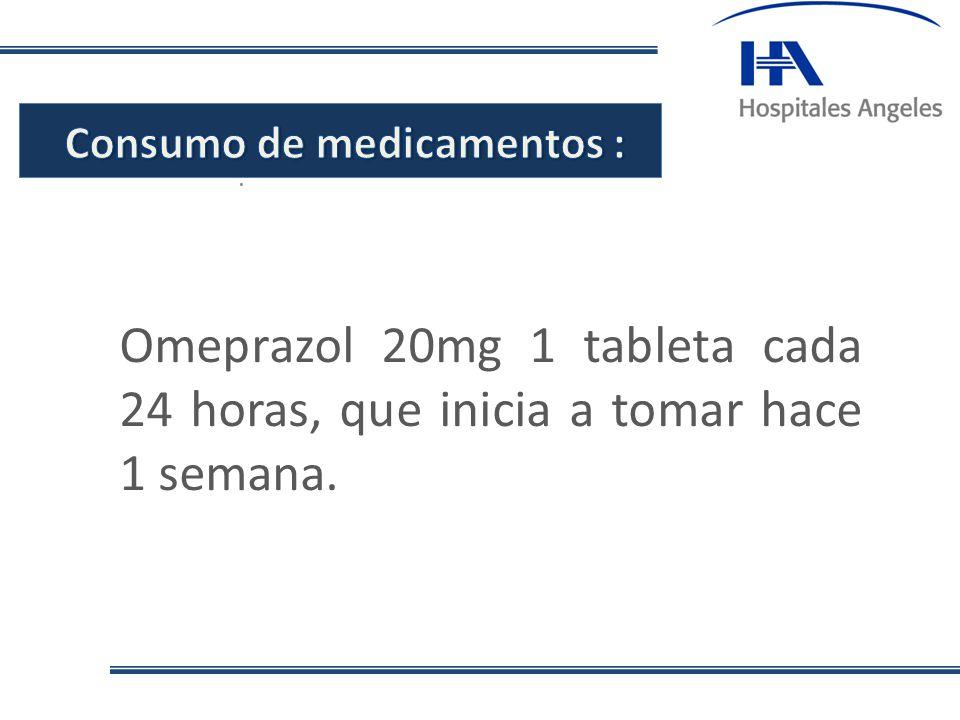 . Omeprazol 20mg 1 tableta cada 24 horas, que inicia a tomar hace 1 semana.