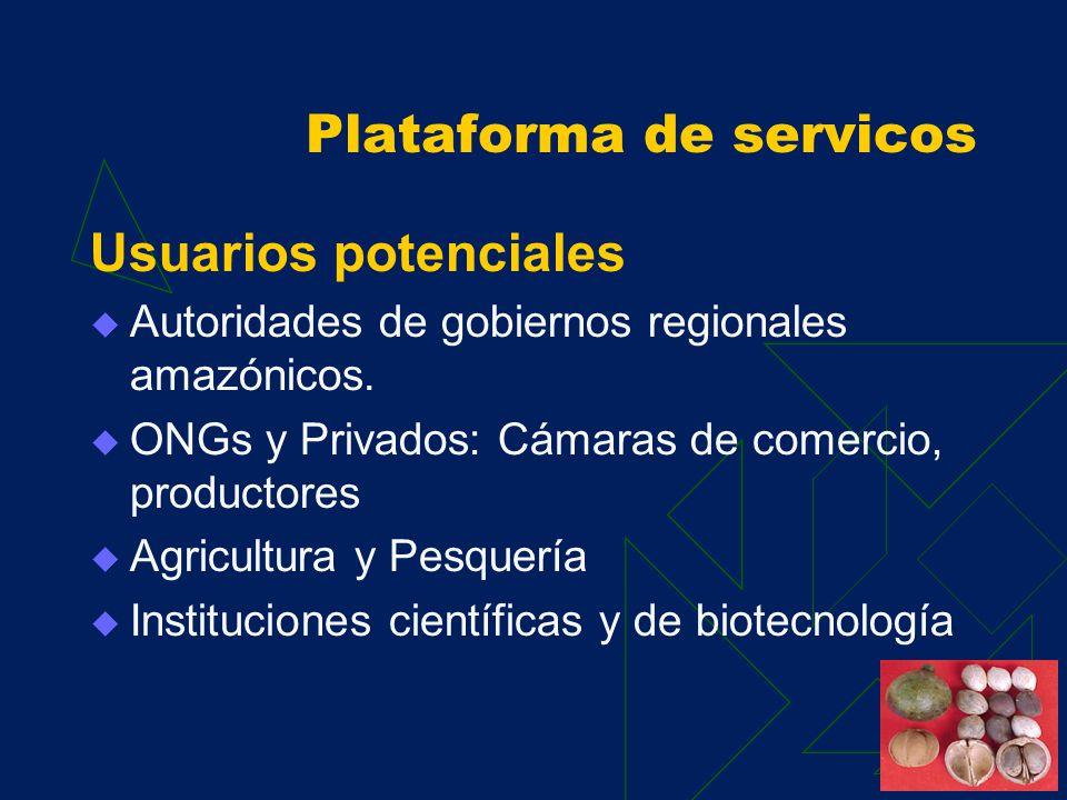 Plataforma de servicos Diseño IIAP CONAM Universidades Amazónicas Gobiernos Regionales Amazónicos. INRENA Productores y otros