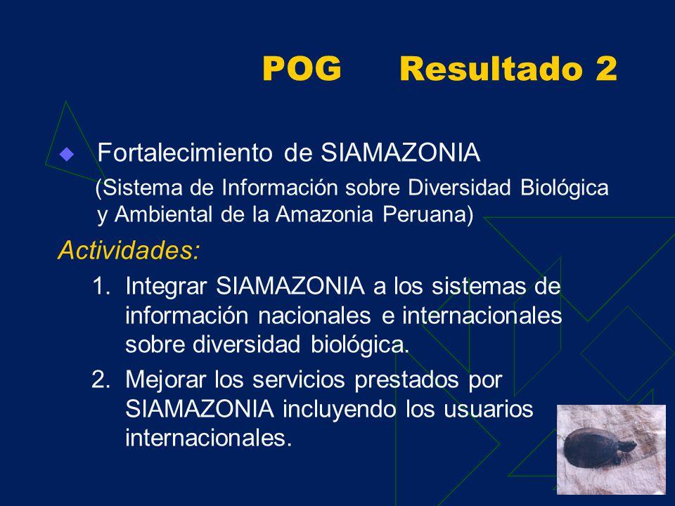 POG Resultado 1 Facilitación del proceso descentralizado de implementación de la ERDBA y sus planes de acción y el fortalecimiento de capacidades de gestión y difusión a nivel regional, nacional y de los países amazónicos andinos Actividades: 1.Apoyar la implementación de la ERDBA y sus planes de acción 2.Desarrollar la organización de la plataforma de servicios 3.Fortalecer las relaciones interinstitucionales de los países amazónicos andinos mediante la difusión de resultados y casos exitosos de BIODAMAZ