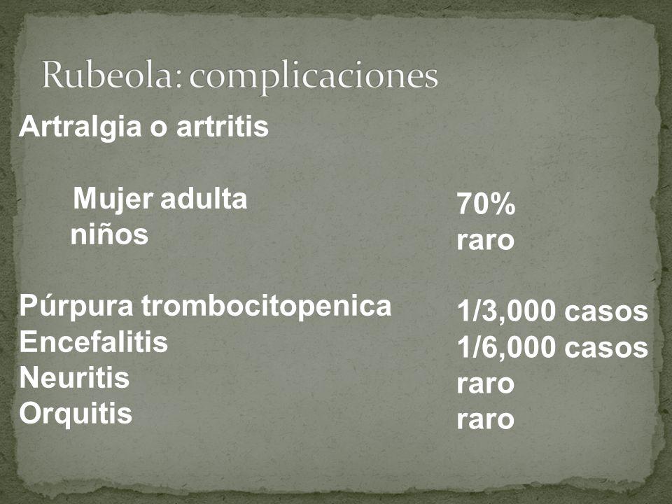 Artralgia o artritis Mujer adulta niños Púrpura trombocitopenica Encefalitis Neuritis Orquitis 70% raro 1/3,000 casos 1/6,000 casos raro