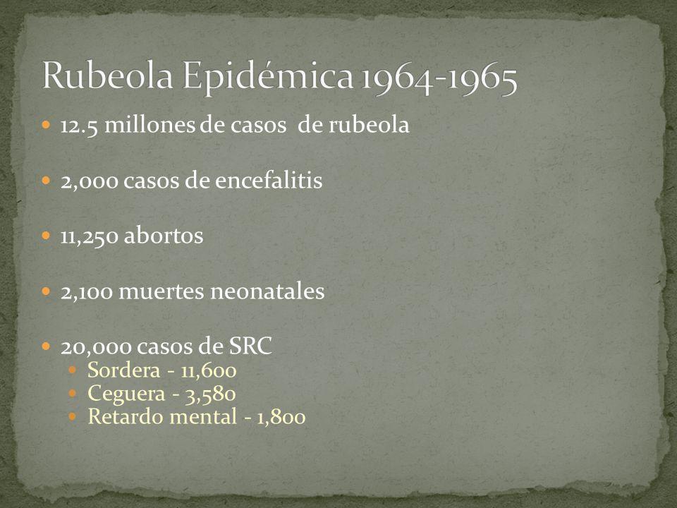 12.5 millones de casos de rubeola 2,000 casos de encefalitis 11,250 abortos 2,100 muertes neonatales 20,000 casos de SRC Sordera - 11,600 Ceguera - 3,