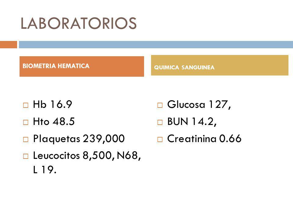 LABORATORIOS Hb 16.9 Hto 48.5 Plaquetas 239,000 Leucocitos 8,500, N68, L 19. Glucosa 127, BUN 14.2, Creatinina 0.66 BIOMETRIA HEMATICA QUIMICA SANGUIN