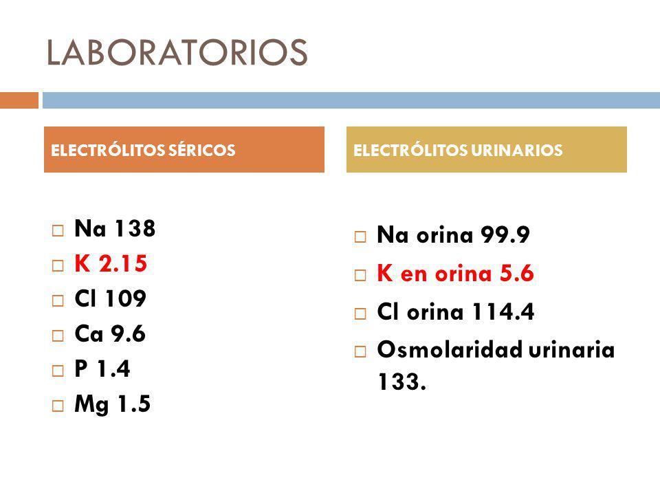 LABORATORIOS Na 138 K 2.15 Cl 109 Ca 9.6 P 1.4 Mg 1.5 Na orina 99.9 K en orina 5.6 Cl orina 114.4 Osmolaridad urinaria 133. ELECTRÓLITOS SÉRICOSELECTR