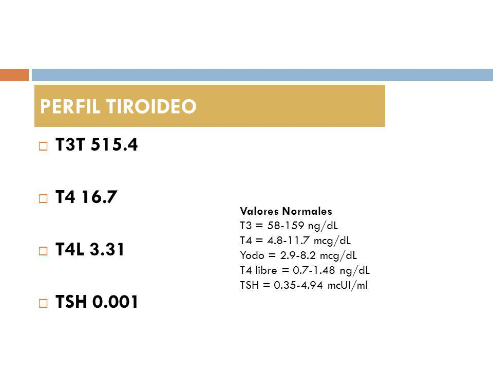 T3T 515.4 T4 16.7 T4L 3.31 TSH 0.001 PERFIL TIROIDEO Valores Normales T3 = 58-159 ng/dL T4 = 4.8-11.7 mcg/dL Yodo = 2.9-8.2 mcg/dL T4 libre = 0.7-1.48 ng/dL TSH = 0.35-4.94 mcUI/ml