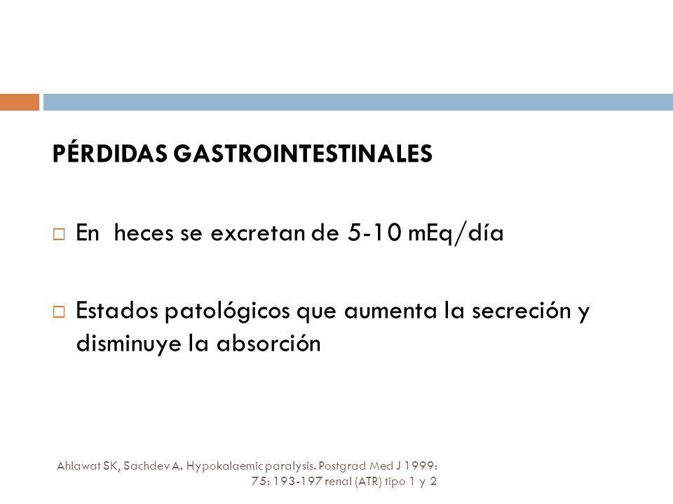 PÉRDIDAS GASTROINTESTINALES En heces se excretan de 5-10 mEq/día Estados patológicos que aumenta la secreción y disminuye la absorción Ahlawat SK, Sac