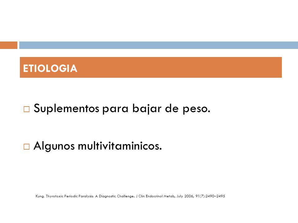 Suplementos para bajar de peso. Algunos multivitaminicos. ETIOLOGIA. Kung. Thyrotoxic Periodic Paralysis: A Diagnostic Challenge. J Clin Endocrinol Me