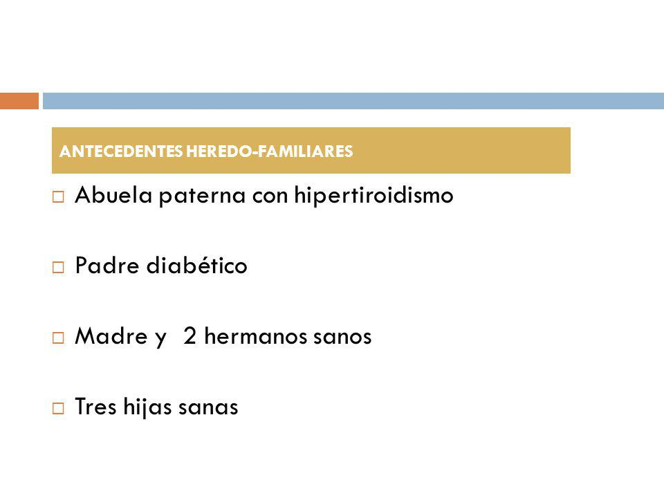 Parálisis periódica tirotóxica K + sérico disminuído + tirotoxicosis TSH T3 libre T4 libre Hipercalcemia, hipofosfatemia e hipomagnesemia asociadas Elevación de CPK en 2/3 Debilidad en ocasiones asociada a mialgia V.