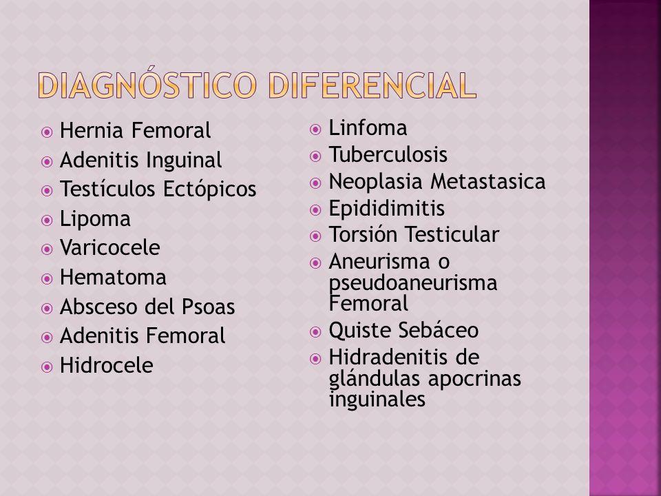 Hernia Femoral Adenitis Inguinal Testículos Ectópicos Lipoma Varicocele Hematoma Absceso del Psoas Adenitis Femoral Hidrocele Linfoma Tuberculosis Neo
