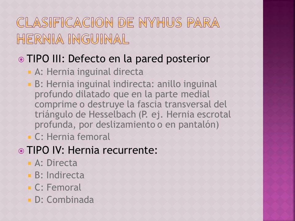 TIPO III: Defecto en la pared posterior A: Hernia inguinal directa B: Hernia inguinal indirecta: anillo inguinal profundo dilatado que en la parte med