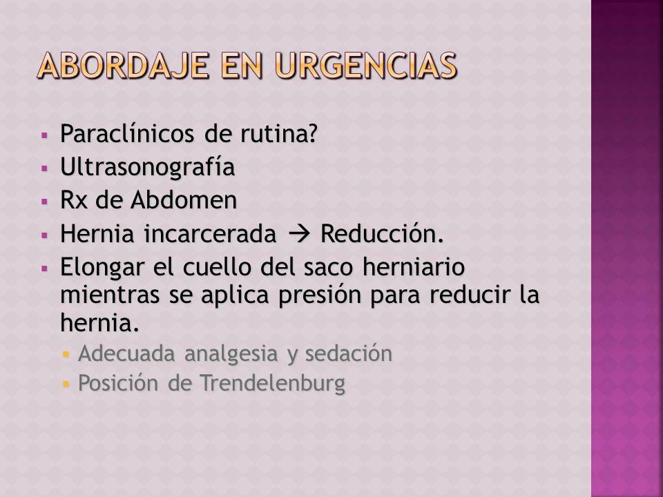 Paraclínicos de rutina? Paraclínicos de rutina? Ultrasonografía Ultrasonografía Rx de Abdomen Rx de Abdomen Hernia incarcerada Reducción. Hernia incar