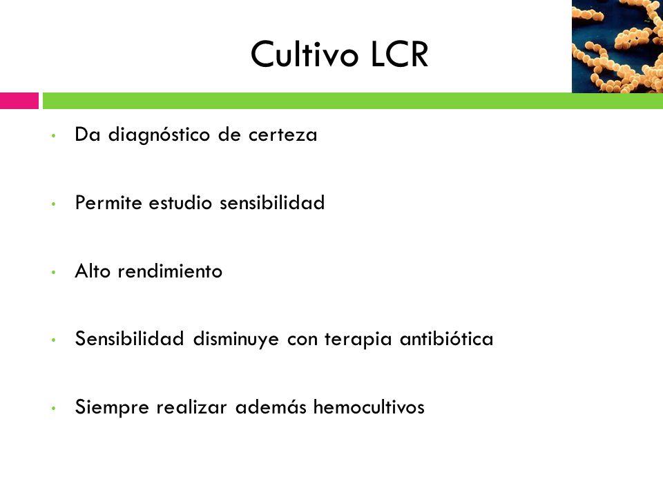Cultivo LCR Da diagnóstico de certeza Permite estudio sensibilidad Alto rendimiento Sensibilidad disminuye con terapia antibiótica Siempre realizar ad