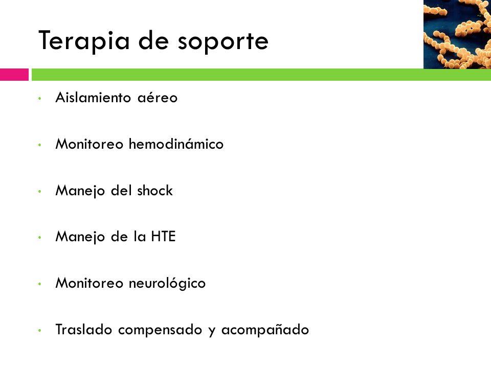 Terapia de soporte Aislamiento aéreo Monitoreo hemodinámico Manejo del shock Manejo de la HTE Monitoreo neurológico Traslado compensado y acompañado