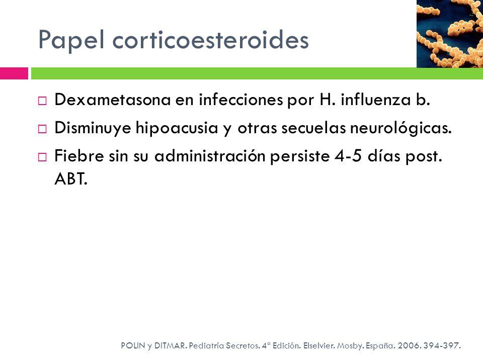 Papel corticoesteroides POLIN y DITMAR. Pediatría Secretos. 4ª Edición. Elselvier. Mosby. España. 2006. 394-397. Dexametasona en infecciones por H. in