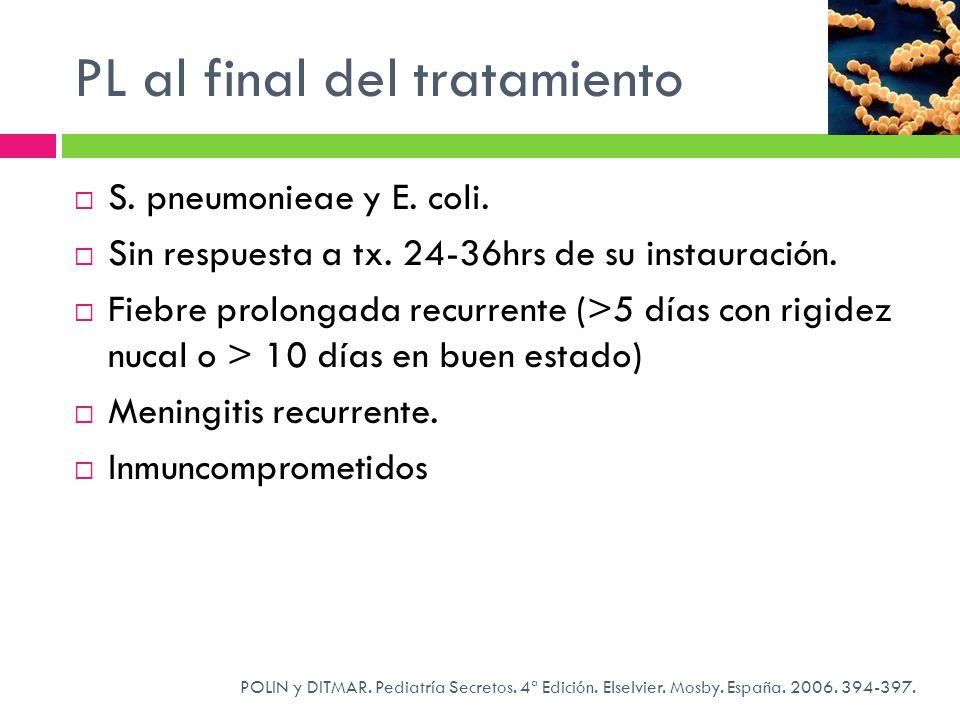 PL al final del tratamiento POLIN y DITMAR. Pediatría Secretos. 4ª Edición. Elselvier. Mosby. España. 2006. 394-397. S. pneumonieae y E. coli. Sin res