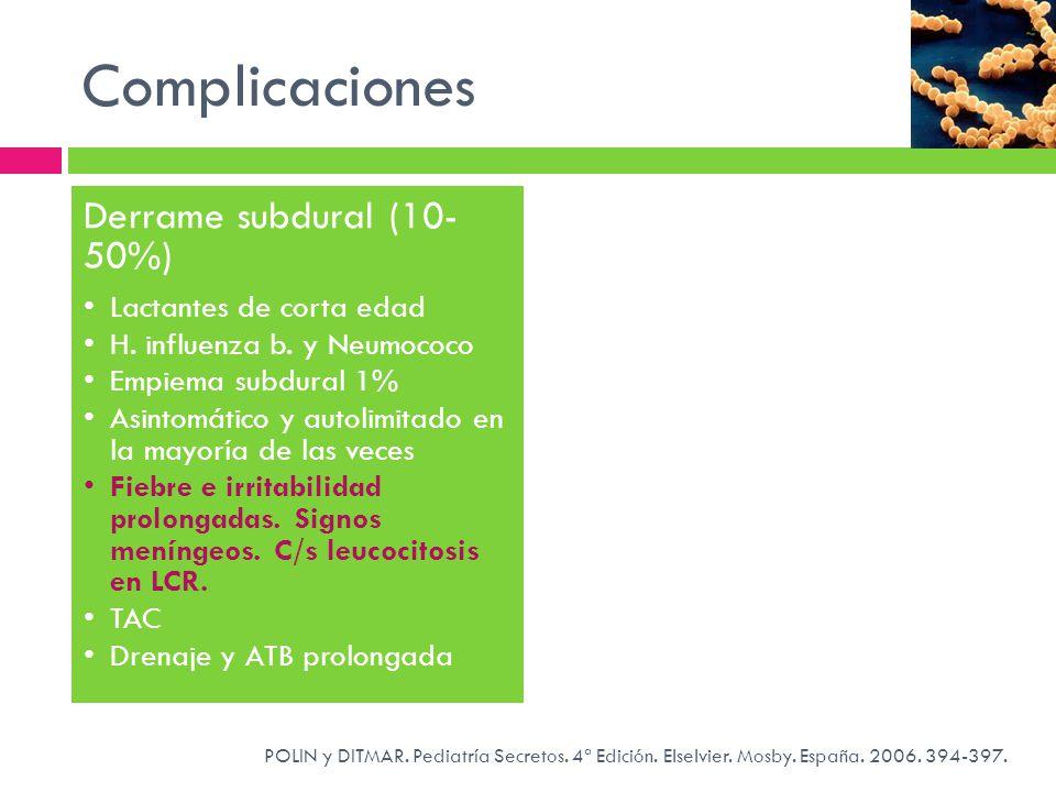 Complicaciones POLIN y DITMAR. Pediatría Secretos. 4ª Edición. Elselvier. Mosby. España. 2006. 394-397. Derrame subdural (10- 50%) Lactantes de corta