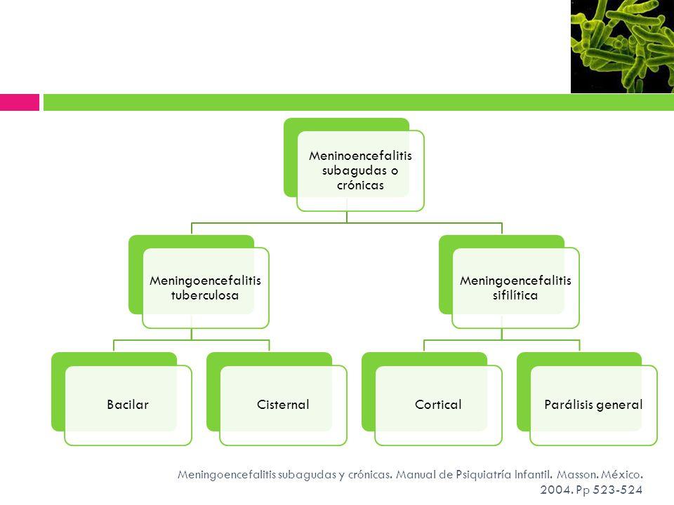 Meningoencefalitis subagudas y crónicas. Manual de Psiquiatría Infantil. Masson. México. 2004. Pp 523-524 Meninoencefalitis subagudas o crónicas Menin