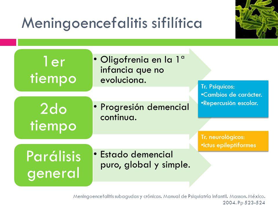 Meningoencefalitis sifilítica Meningoencefalitis subagudas y crónicas. Manual de Psiquiatría Infantil. Masson. México. 2004. Pp 523-524 Oligofrenia en