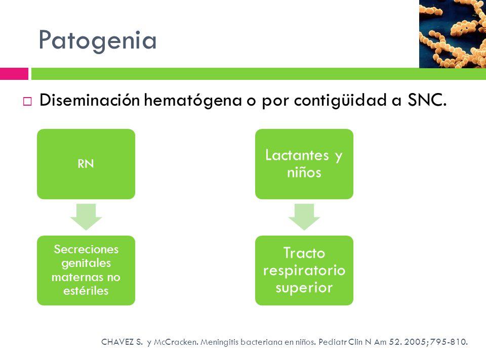 Patogenia Diseminación hematógena o por contigüidad a SNC. RN Secreciones genitales maternas no estériles Lactantes y niños Tracto respiratorio superi
