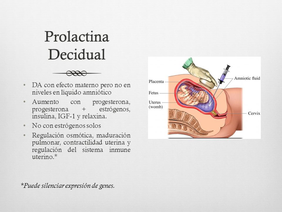 Prolactina Decidual DA con efecto materno pero no en niveles en líquido amniótico Aumento con progesterona, progesterona + estrógenos, insulina, IGF-1 y relaxina.