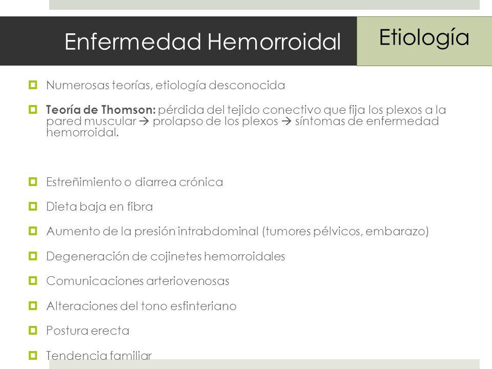 Enfermedad Hemorroidal Numerosas teorías, etiología desconocida Teoría de Thomson: pérdida del tejido conectivo que fija los plexos a la pared muscular prolapso de los plexos síntomas de enfermedad hemorroidal.