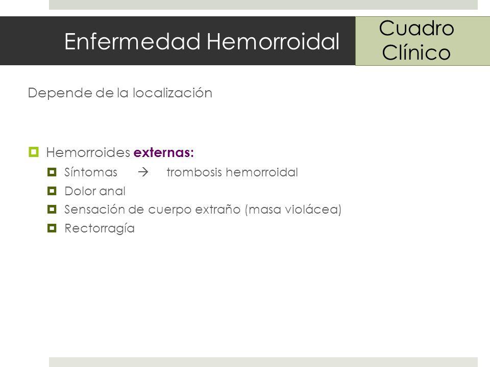 Enfermedad Hemorroidal Depende de la localización Hemorroides externas: Síntomas trombosis hemorroidal Dolor anal Sensación de cuerpo extraño (masa violácea) Rectorragía Cuadro Clínico