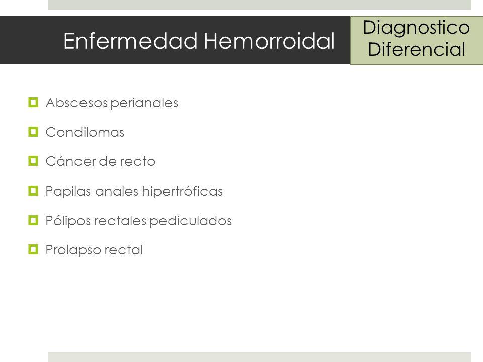 Enfermedad Hemorroidal Abscesos perianales Condilomas Cáncer de recto Papilas anales hipertróficas Pólipos rectales pediculados Prolapso rectal Diagnostico Diferencial