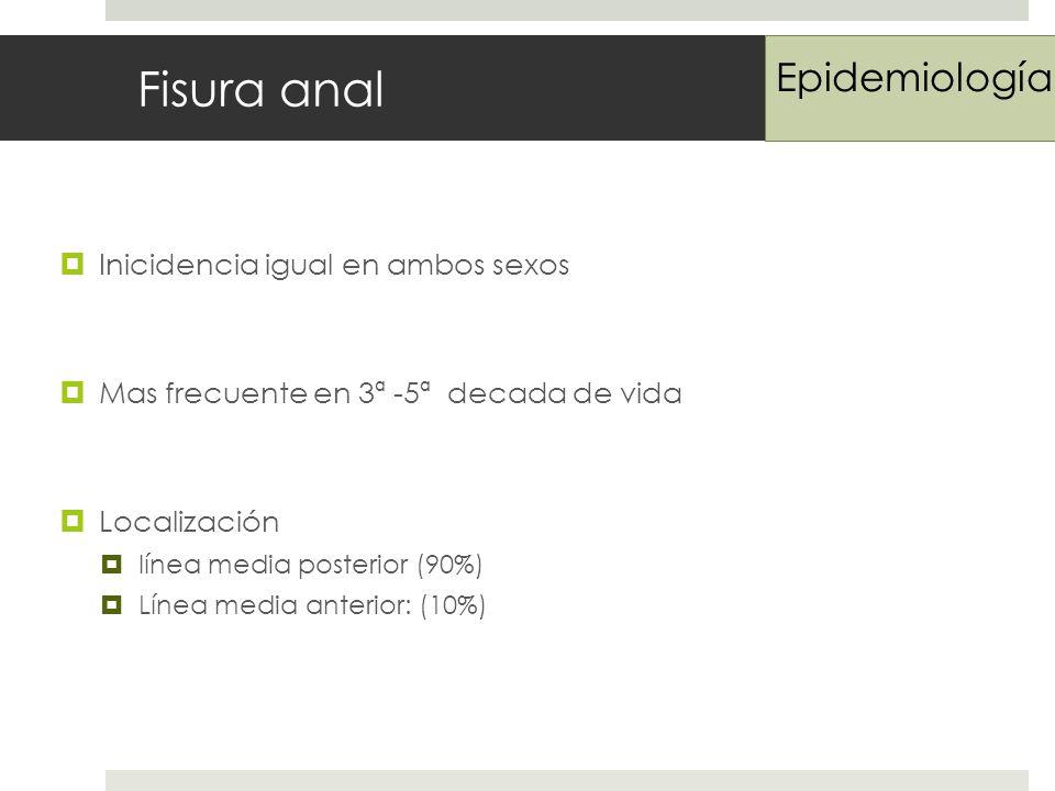 Fisura anal Inicidencia igual en ambos sexos Mas frecuente en 3ª -5ª decada de vida Localización línea media posterior (90%) Línea media anterior: (10%) Epidemiología